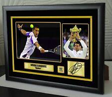 """Novak Djokovic Limited Edition incorniciato tela OMAGGIO STAMPA FIRMATA """"GRANDE REGALO"""""""