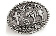 Nocona 37374 Mens Cowboy Prayer Silver Western Belt Buckle