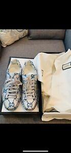 Authentic Gucci Ace Sneaker Silver And Blue Monogram