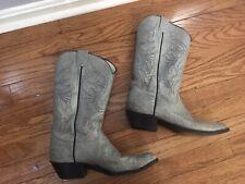 Vintage Olathe Gray Cowboy Boots Leather Western Made-Olathe 9.5 D
