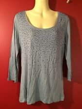 TALBOTS Women's Blue 3/4 Sleeve Embellished Stretch Top - Size Small - NWT