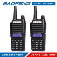 2x Baofeng UV-82L 2M/70cm V/UHF Dual-Band Dual PTT Walkie Talkie Ham Transceiver