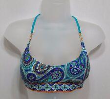 Trina Turk Provence Paisley Bikini Top Bralette Sz 10 Swimwear Blue i8