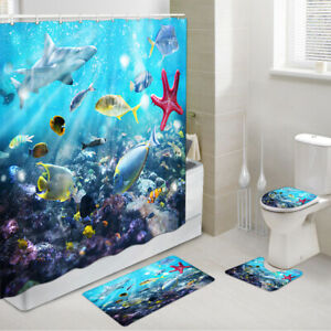 Coral Starfish and Shark Shower Curtain Toilet Cover Rug Mat Contour Rug Set