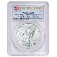 2021 (S) $1 American Silver Eagle PCGS MS70 Emergency Issue FDOI Flag Label