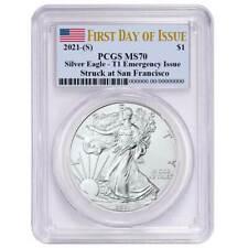 Presale - 2021 (S) $1 American Silver Eagle Pcgs Ms70 Emergency Issue Fdoi Flag