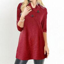 Women Warm Button Long Sleeve Sweater Tunic Pullover Blouse Shirts SweatshirtCA