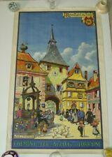 Affiche originale Hansi  pélérinage Mont Saint Odile Rosheim Chemins de fer