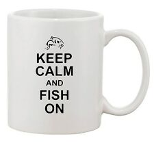 Keep Calm And Fish On Fishing Hunting Sea Lover Funny Ceramic White Coffee Mug