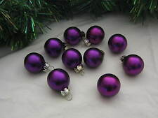 Miniature Small Balls Ornaments Purple Christmas Glass Satin, Feather Wire Tree