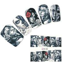 Nail Art Sticker Water Decals Transfer Stickers Halloween Skull Gothic (BN186)