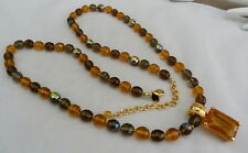 "37"" JOAN RIVERS AMBER AB FACETED CRYSTAL AMBER GLASS ENHANCER PENDANT NECKLACE"