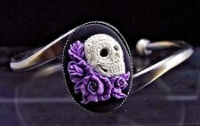 Vintage Style Mexican Sugar Skull with Lavender Roses Cameo Bracelet