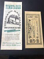 COLORADO RAILROAD MUSEUM 1960's BROCHURE & Ticket GOLDEN, COLORADO
