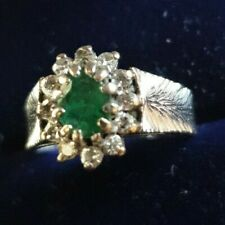 Beautiful vintage 18K WHITE GOLD NATURAL DIAMOND & emerald RING SIZE J1/2, C1/R7