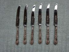 Six English Sterling  Silver handled Tea Knives / Butter Knives Kings Pattern