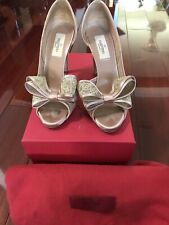 Valentino Lace Bow Slim Heel Peep Toe D'orsay Pumps Beige Size 36.5