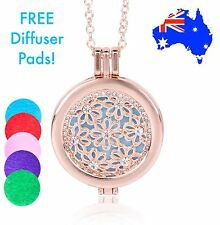 Rose Gold Flower Diamanté Crystals Aromatherapy Essential Oil Diffuser Necklace
