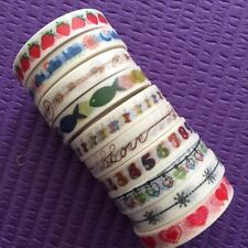 Washi Tape Lot Of 10 slim skinny whole roll Set Washitapes For Planner NEW A