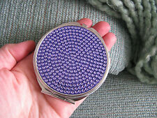 NEW PURPLE JEWELED CRYSTAL BLING! DOUBLE MIRROR PURSE COMPACT MAKE-UP MIRROR