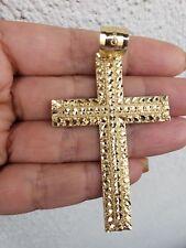 Big 10k yellow Gold diamond cut Cross Pendant 2.75 inches long