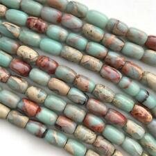 Aqua Terra Jasper Barrel Turquoise Rust 12mm Semi Precious Stone Beads Q1 Strand