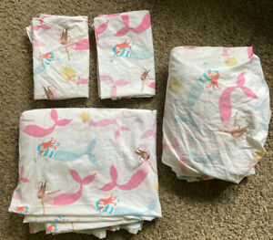 ~Pottery Barn Kids girls 4 pc Breton Mermaid sheets + pillowcases