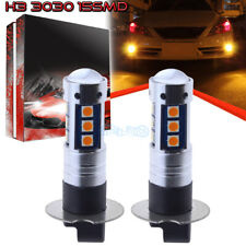 2Pcs H3 3030 15Smd Led Fog Lights Bulbs Conversion Kit Super Premium 3000K Amber