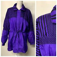 VTG Purple Black Color Block Windbreaker Ski Jacket 80s 90s Punk Rock Women L