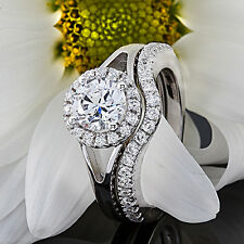 1.5 Ct Round Cut Diamond Engagement Ring Set 14k White Gold D/VS2 Enhanced