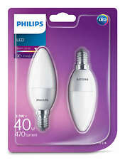2 Pk Philips LED Frosted E14 Warm White Edison Screw 40w Candle Light Bulb 470lm