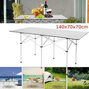 140CM Portable Roll-up Aluminium Folding Picnic Table Outdoor BBQ Party w/ Bag