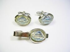 VINTAGE CUFF LINKS TIE CLIP REVERSE PAINTED SAILFISH SPORT FISHER CUFFLINKS