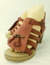 Womens Shoes Sandals EU 36 Red Leather Wood Heel Kiltie Tassels Summer 5435