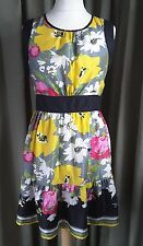 Warehouse Silk Floral Pink Yellow Green Grey Black Empire Line Dress UK14 EU42