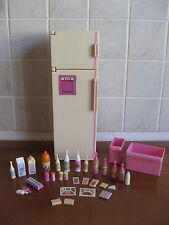BARBIE Kühlschrank für die Puppenküche / Puppenhaus Original Mattel viel Zubehör