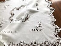 VINTAGE HAND EMBROIDERED WHITE LINEN CUTWORK LACE TABLECLOTH 36x38 Inches