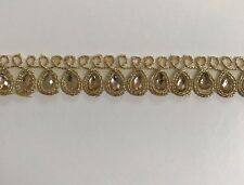 ATTRACTIVE INDIAN GOLD BRAIDED CRYSTALS IN LEAVES DESIGN LACE/TRIM-SOLD By METRE