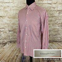 Ermenegildo Zegna Mens Long Sleeve Shirt Cotton Orange Stripped Large Italy F72