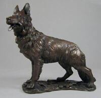 Large Bronze Sculpture German Shepherd Alsatian Dog Statue Ornament Figure