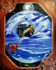 16x20 original oil on canvas painting. Surrealistic style. Earth within Earth♡♡♡