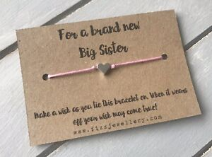 """""""For a Brand New Big Sister"""" Message Card Tie Silver Heart Bracelet Gift"""
