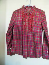 LIZ CLAIBORNE PLAID RUFFLE LONG  SLEEVE BUTTON DOWN SHIRT TOP BLOUSE SIZE L