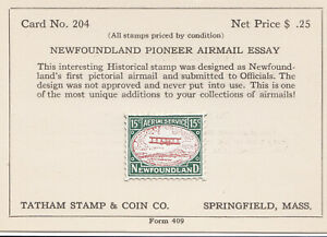 Newfoundland 1922 Airmail Essay Forgery by Roessler sold by Tatham, Very Fine