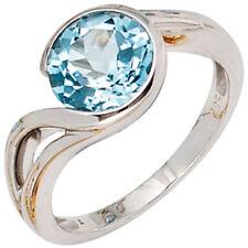 Ringe mit Edelsteinen echten Blautopas und solitärem Stil für Damen