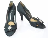 Nina Formal Black Satin Diamond Crystal Peep Toe High Heel Pump Shoe Size 9M
