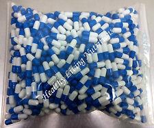 1000 EMPTY gel GELATIN CAPSULES ~SIZE 00 ~ Colored White/Blue (Kosher)