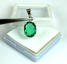 Natural Oval 9.05 Ct Muzo Emerald Pendant 925 Sterling Silver Certified G7973