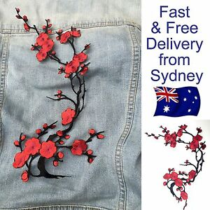 Big red flower patch iron on - Sakura Japanese cherry blossom iron-on patches