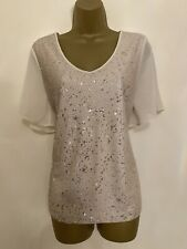 Ladies BNWT NEXT Beige Natural Nude Sequin Top Chiffon Sleeves Size UK 12 RRP£45